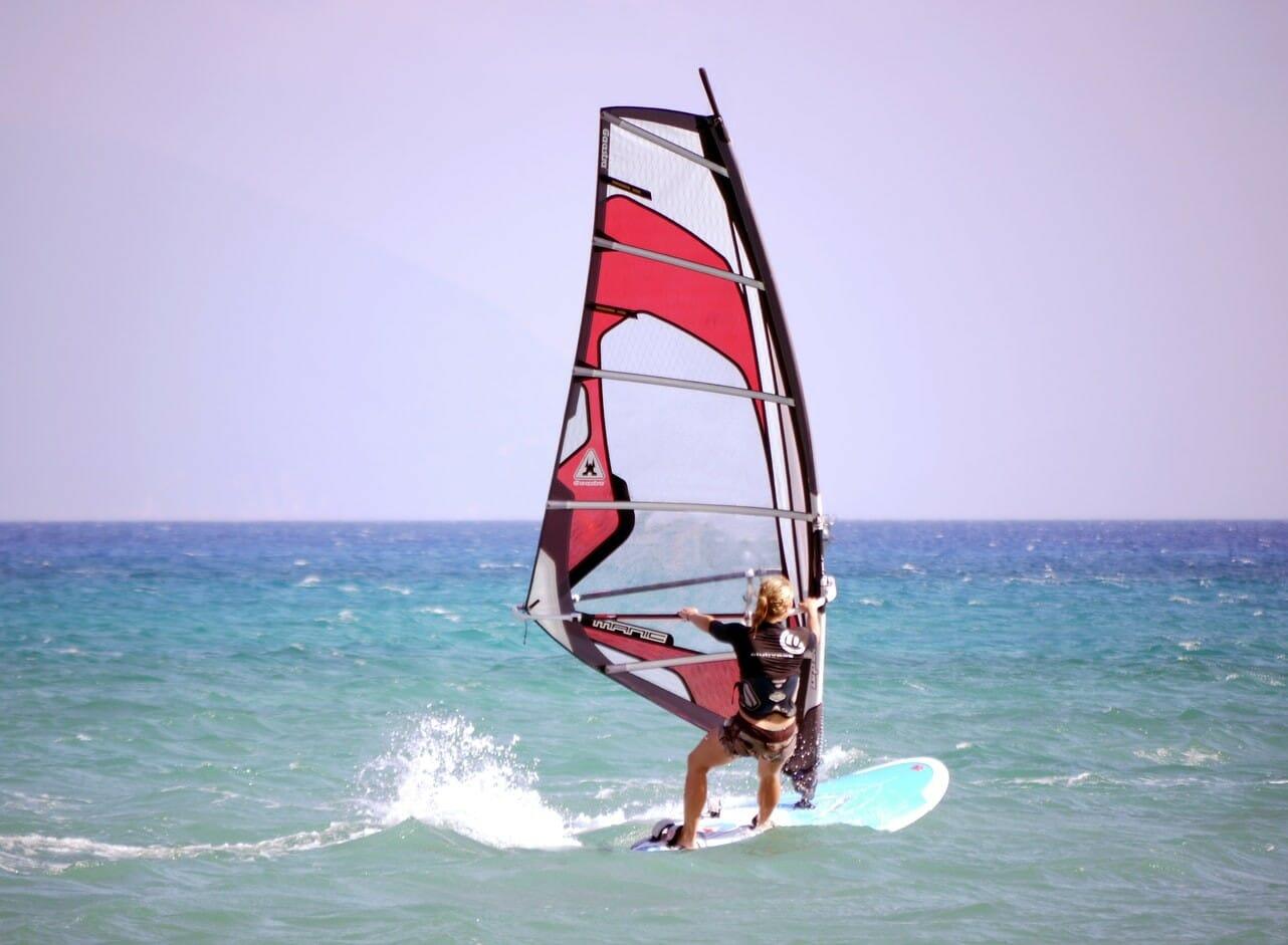 Windsurfing on Adriatic sea Ulcinj Montenegro