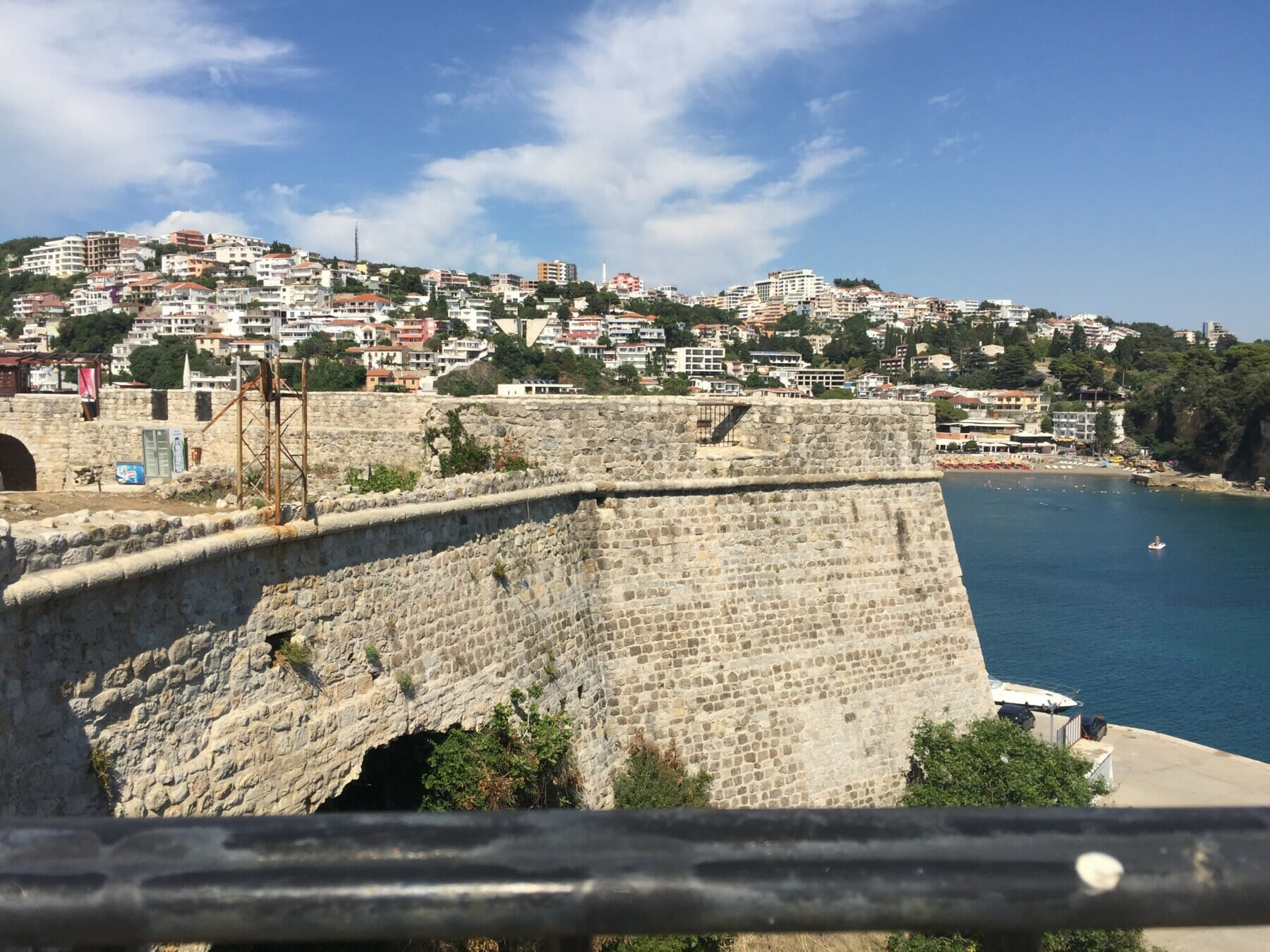 View of the walls of the old town of Ulcinj