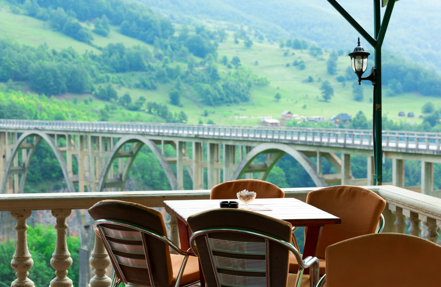Nice look from cafes to Đurđevića Tara Bridge