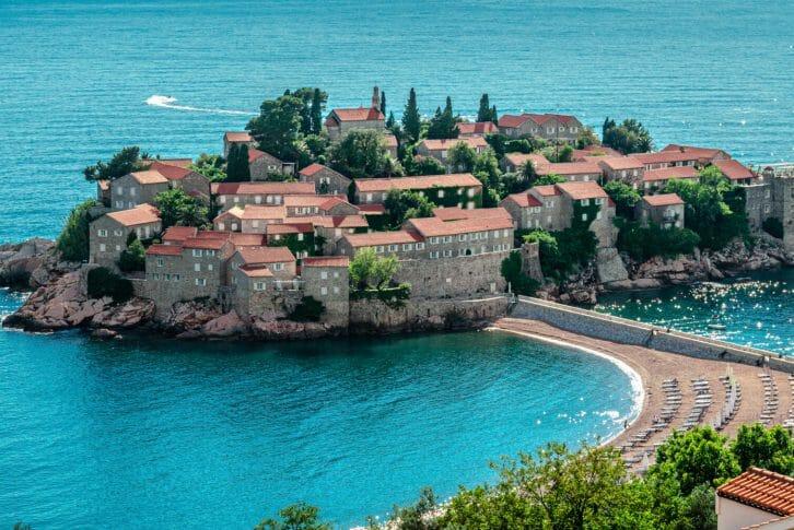11Sveti Stefan island in Budva in a beautiful summer day, Montenegro, Adriatic