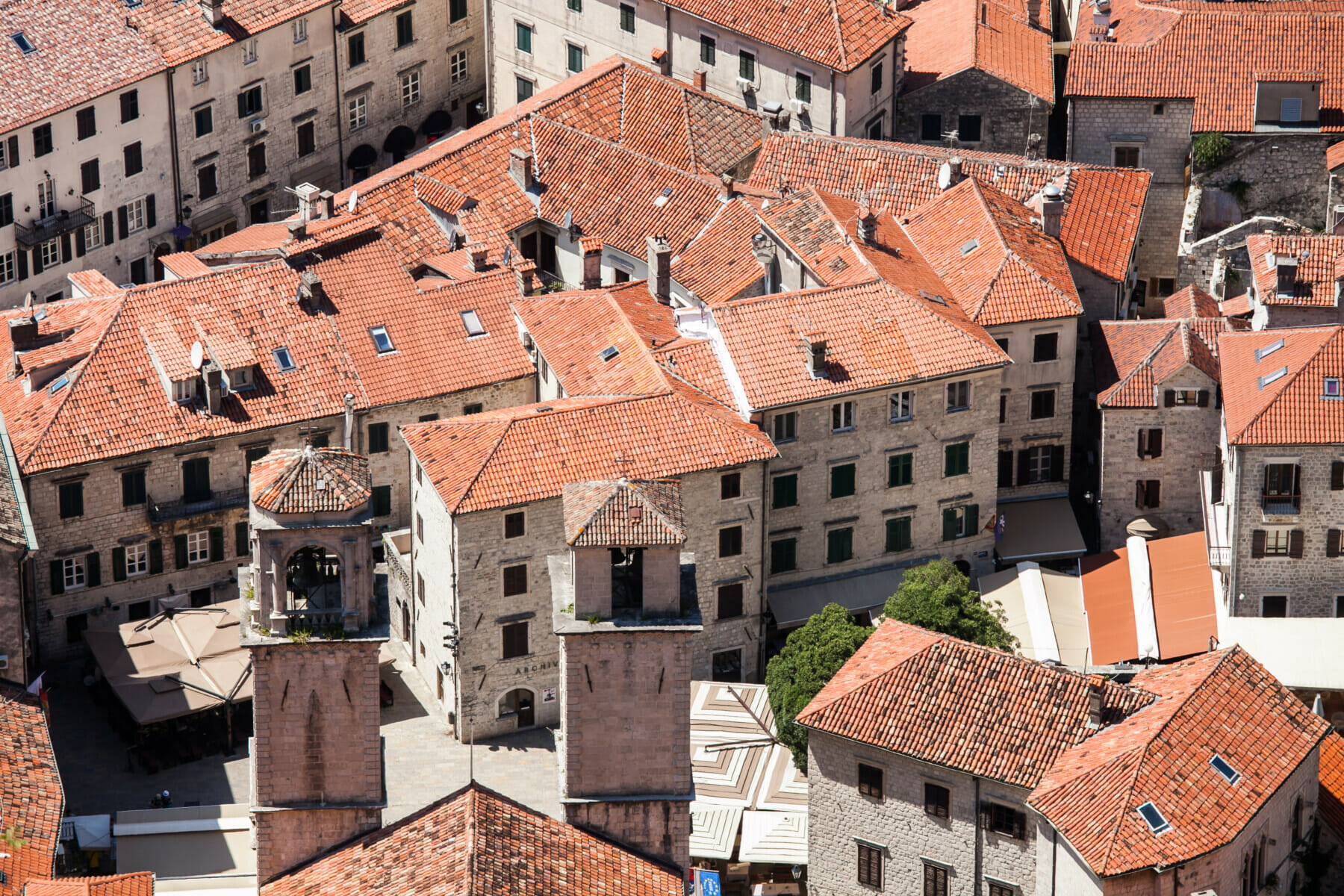 Top view of the red-tiled roofs in the old town of Kotor, Montenegro.