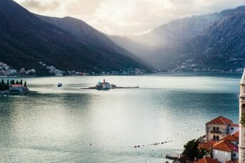 Beautiful view on a bay of Kotor witch islands and mountains.