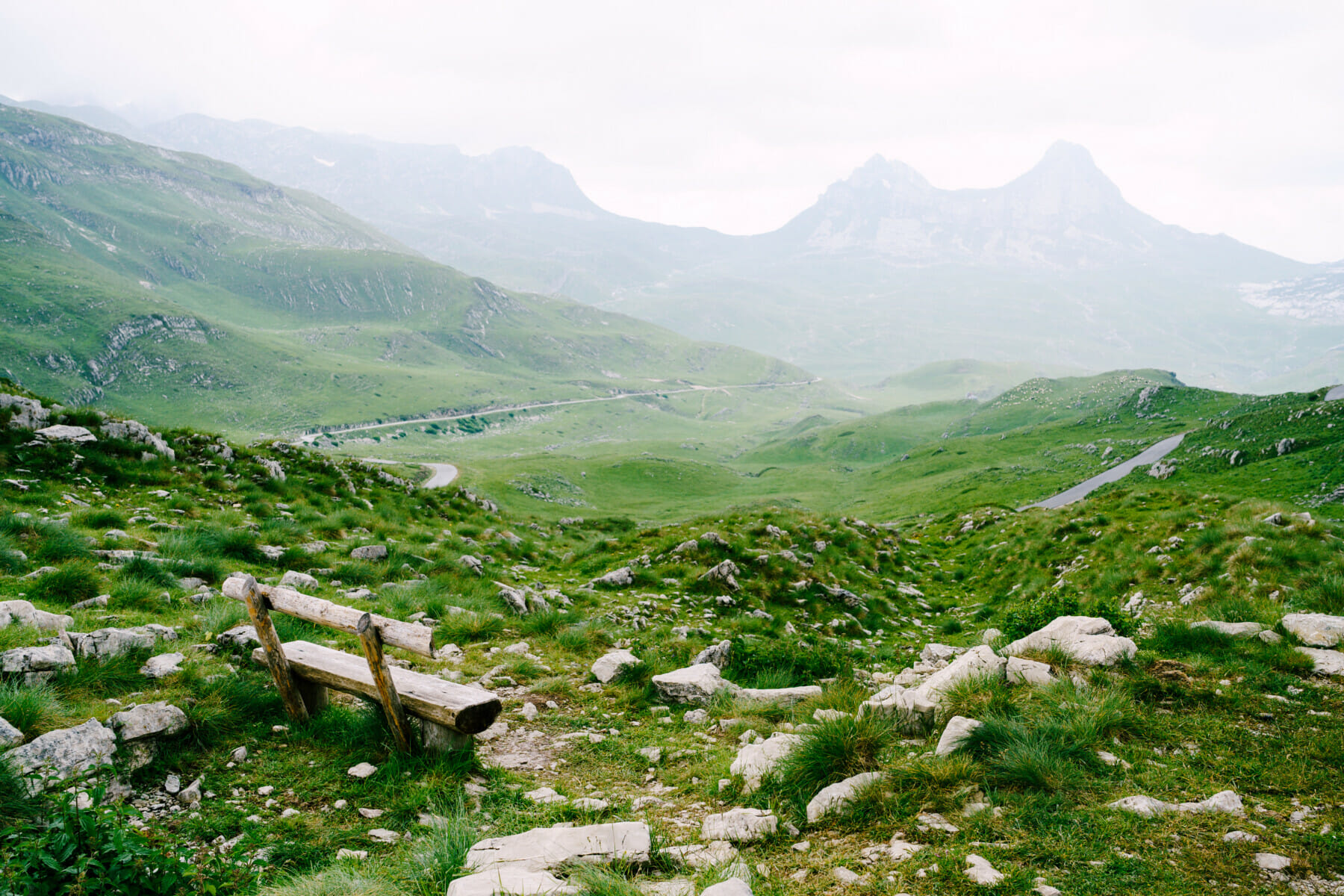 A wooden bench in the mountains of Montenegro in Durmitor National Park, Sedlo Pass.