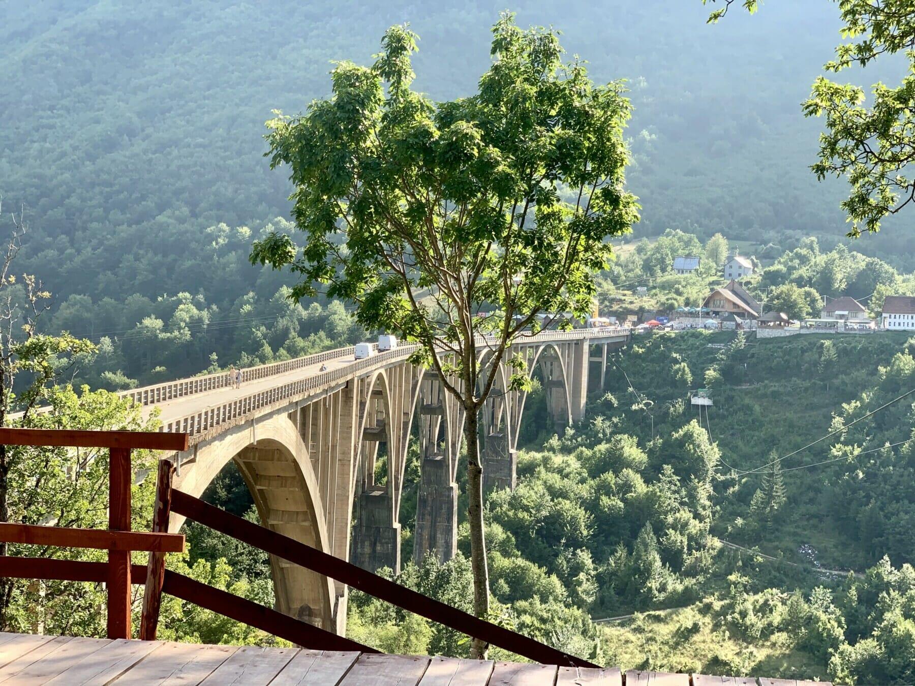 View of the Djurdjevica Tara Bridge from the local national restaurant Montenegro